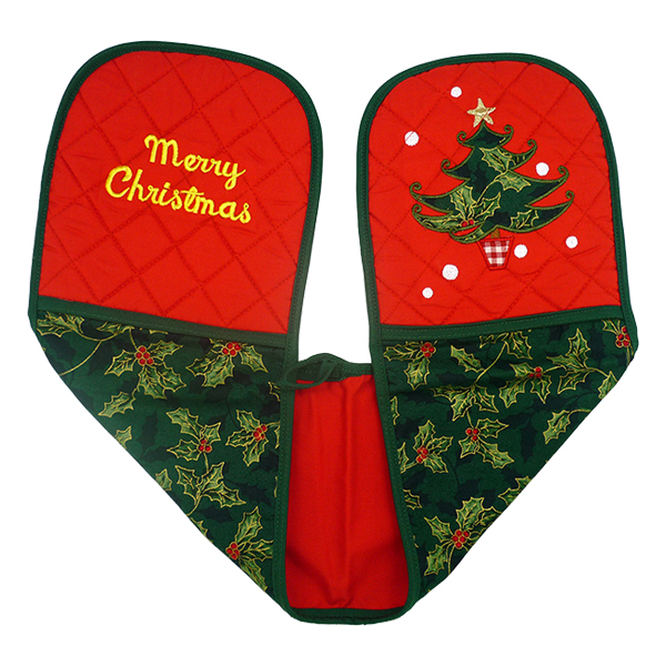 Double Oven Gloves - Christmas Leaf 1