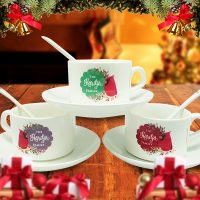 Tea Cup Christmas Cardinal Bird