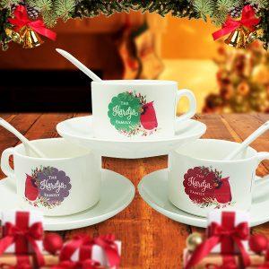 Tea Cup Christmas Cardinal Bird