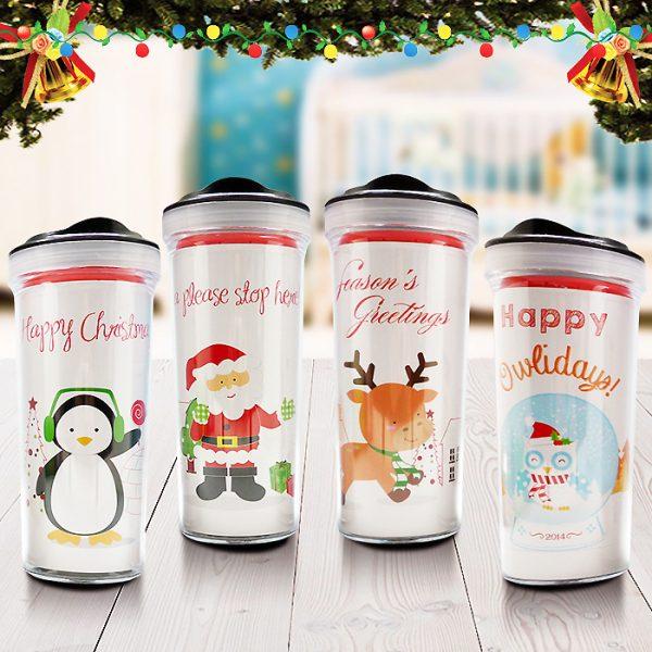 Christmas Tumbler Bottle Santa Friends