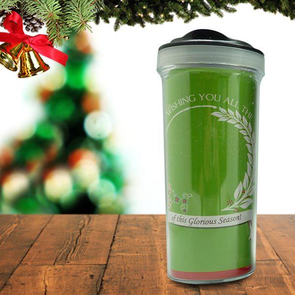 Christmas Tumbler Bottle Typography Green