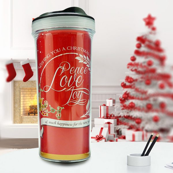 Christmas Tumbler Bottle Typography Red