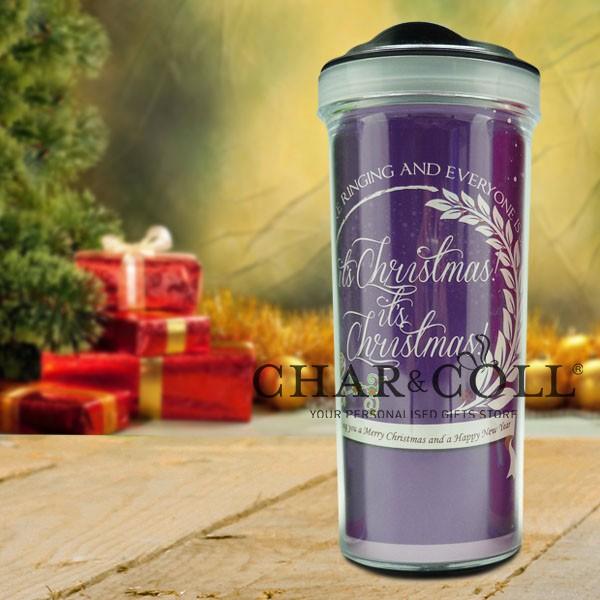 Christmas Tumbler Bottle Typography Purple