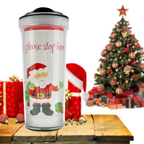 Christmas Tumbler Bottle Santa
