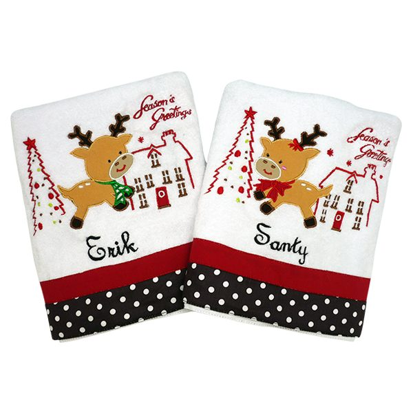 Bath Towel Couple - Mr. & Mrs. Reindeer