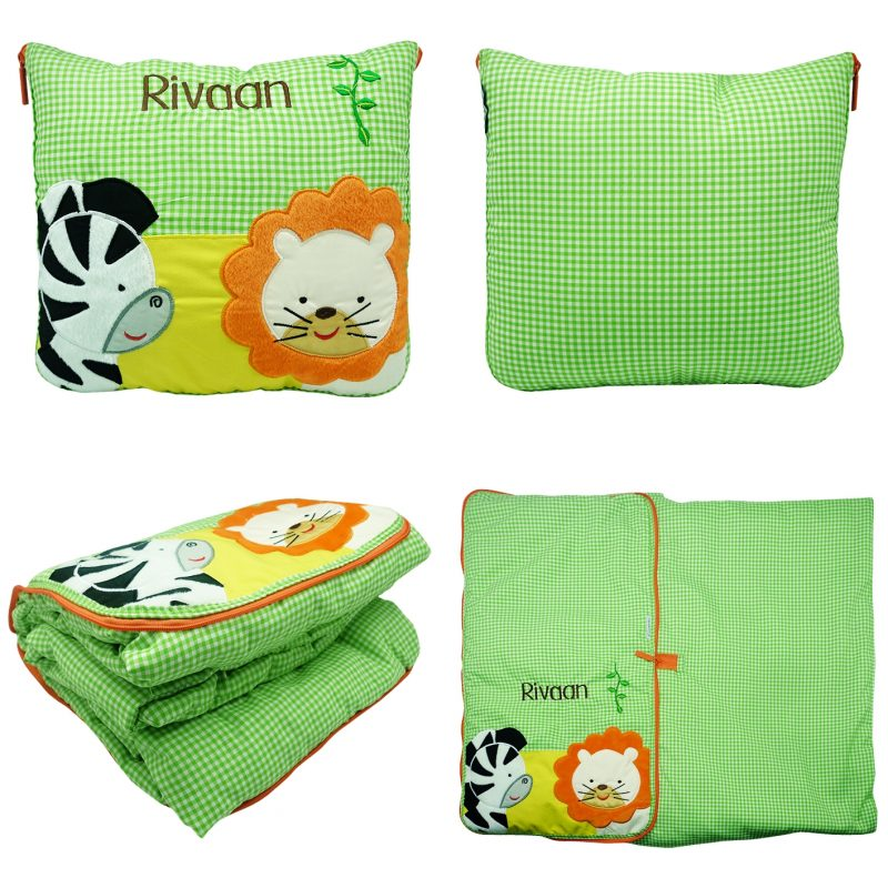 2 In 1 Pillow Blanket Zebra & Lion