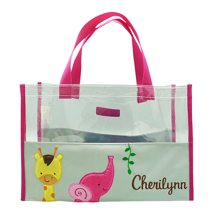 Hand Bag Clear Mica Giraffe Elephant