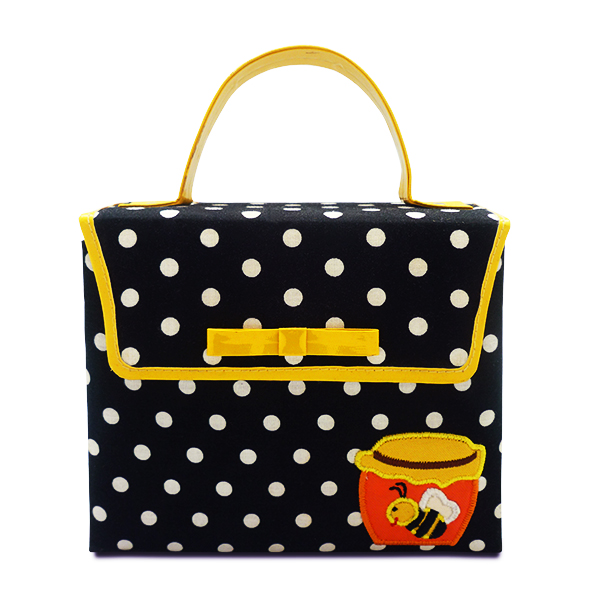 Hand Bag Mini Kelly Black Polkadot