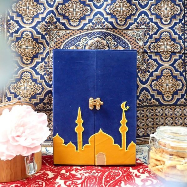 Kotak Bingkisan Parcel Custom Mosque Biru