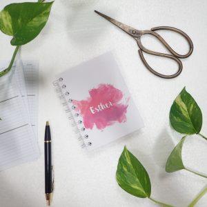 Mini Notebook Art Paint Splash Pink