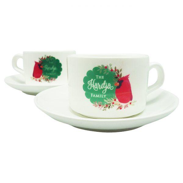 Tea Cup Christmas Cardinal Bird - Green