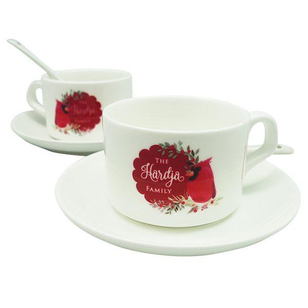 Tea Cup Christmas Cardinal Bird - Red