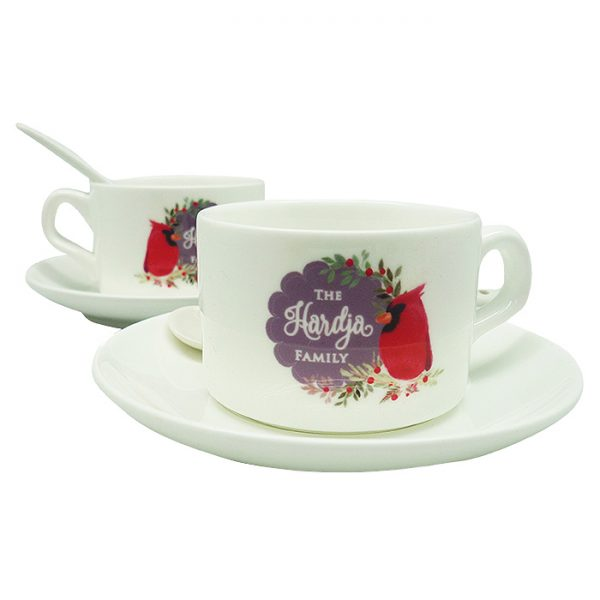 Tea Cup Christmas Cardinal Bird - Purple