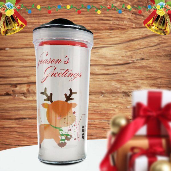 Christmas Tumbler Bottle Reindeer Seasons Greeting