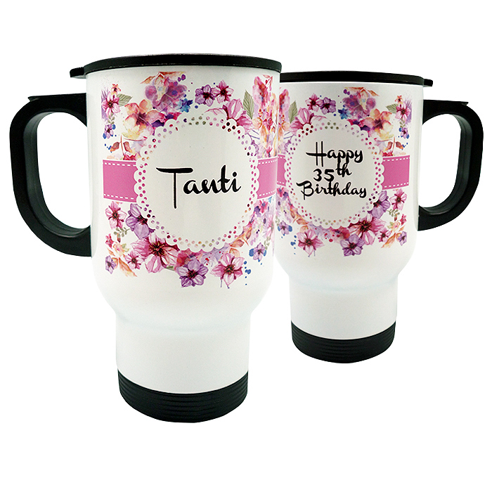 Travel Mug Flowers Custom