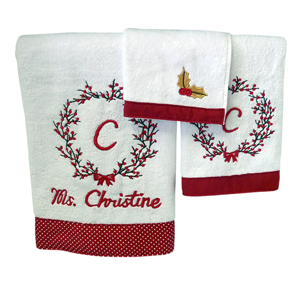 Towel Set Christmas Wreath