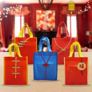 8. Eco Tote Bag Cheongsam - Biru & Merah