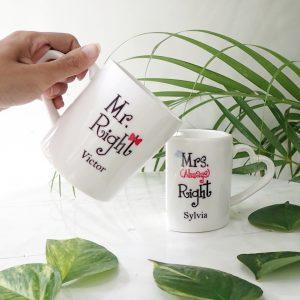 valentine heart coffee mug Mr and Mrs Right