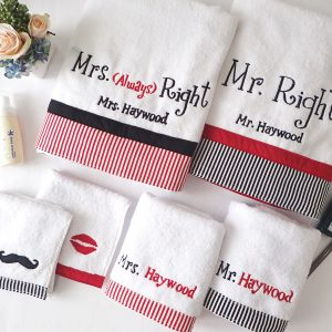 couple towel setMr and Mrs Right