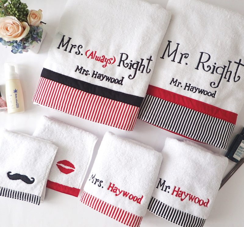 Valentine Couple Towel Set Mr & Mrs Right