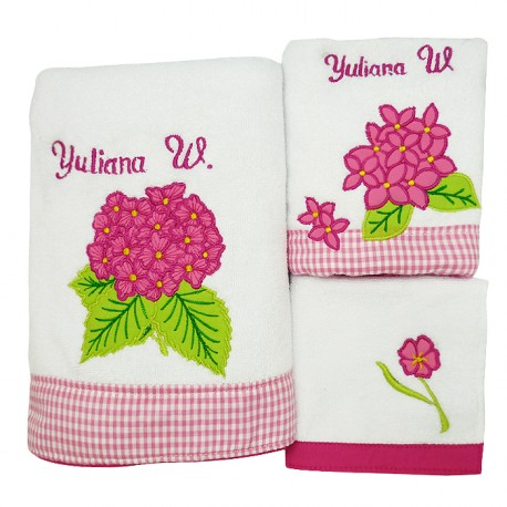 Towel Set Hydrangea Flower Pink
