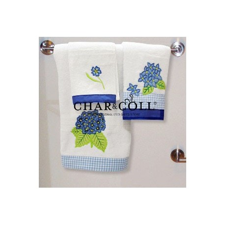 Towel Set Hydrangea Flower Blue