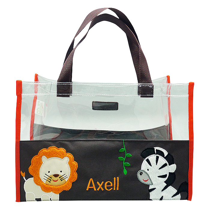 Hand Bag Clear Mica Zebra Lion