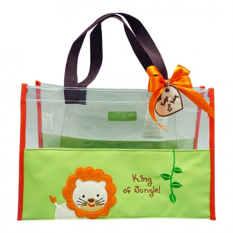 Hand Bag Clear Mica Jungle Lion