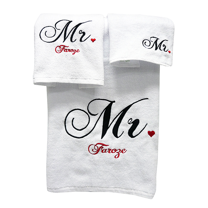 Couple Towel Set – Typography Mr. & Mrs.