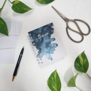 Mini Notebook Art Paint Splash Navy Blue